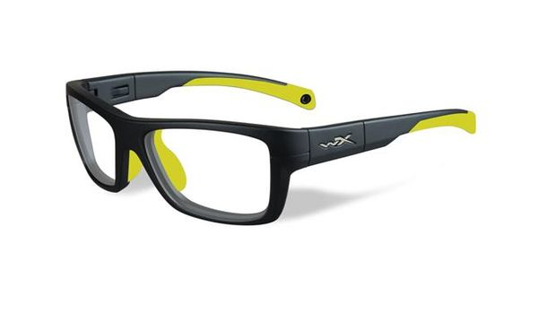 Wiley X Youth Force WX Crush YFCRS04 Kids Sports Glasses Matte Grey/Neon Yellow