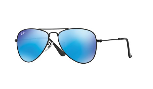 Ray-Ban Junior Aviator RJ9506S Sunglasses Matte Black/Blue Mirror Lenses 201/55