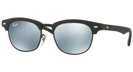 Ray-Ban Junior Clubmaster RJ9050S Kids Sunglasses Black/Silver Mirror Lenses 100S30