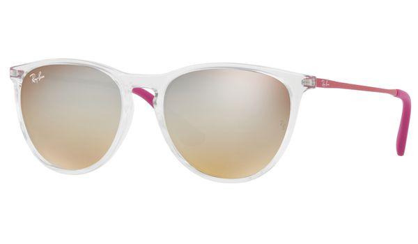 Ray-Ban Junior Erika RJ9060S Kids Sunglasses Trasparent/Brown Grad Dk Brown Mir Silver Lenses 7032B8