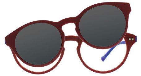 iGreen Plus-10 C09M Kids Eyeglasses Matt Dk Red/Royal Blue Clip Polarized Dk Red