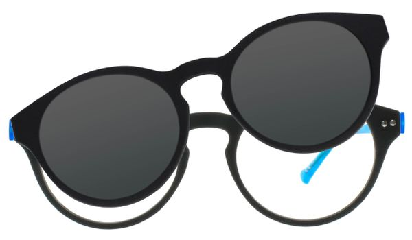 iGreen Plus-10 C08M Kids Eyeglasses Matt Dk Gray/Light Blue Clip Polarized Dk Gray