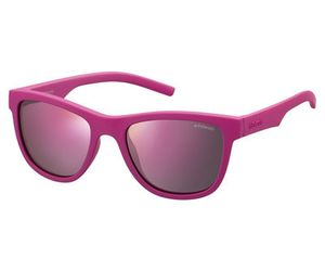 Polaroid Kids PLD-8018/S Sunglasses Polarized Dark Pink/Brown Mirror 0CYQ-AI