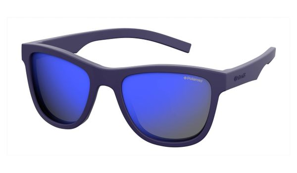 Polaroid Kids PLD-8018/S Sunglasses Polarized Rubber Blue/Gray Blue Mirror 0CIW-JY