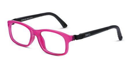 Nano NAO521946 Arcade Kids Eyeglasses Crystal Raspberry/Black Eye Size 46-17 (6-8 Years)
