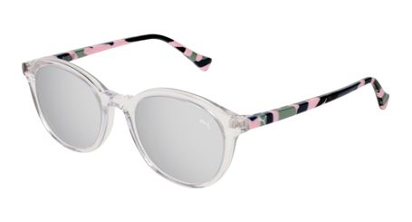 Puma Junior Kids Sunglasses PJ0034S-003 Crystal/Silver Lenses