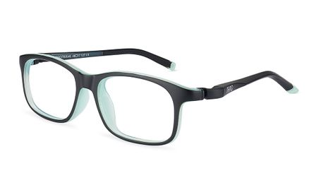 Nano Sleek Arcade Kids Eyeglasses Crystal Matte Black/Mint