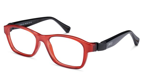 Nano NAO630143 Gaikai Kids Eyeglasses Crystal Red/Black Eye Size 43-15  (2-4 Years)