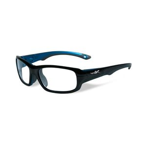 Wiley X Youth Force WX Gamer YFGAM02 Kids Sports Glasses Gloss Black/Metallic Blue