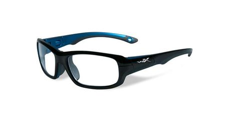 Wiley X Youth Force WX Gamer YFGAM02 Kids Sports Glasses Gloss Black/Metallic Blue