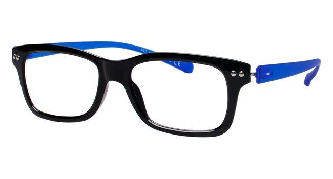 iGreen V2.7-C02 Kids Eyeglasses Shiny Black/Matt Royal Blue