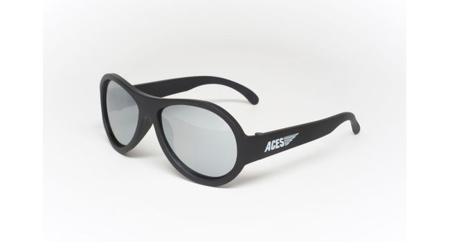 Babiators Aviator ACE-001 Childrens Sunglasses Black Ops Black Mirrored Lenses